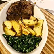 This steak turned out very well. I really thought it was to be a tough cut of meat but it was juicy and flavorful. For someone who is not really a veggie person, this cream kale is one that I will make again.